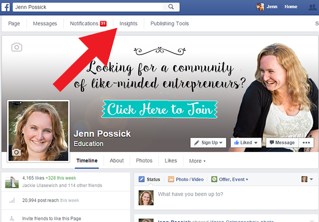 """On the Facebook Fan page you manage, click """"Insights"""""""