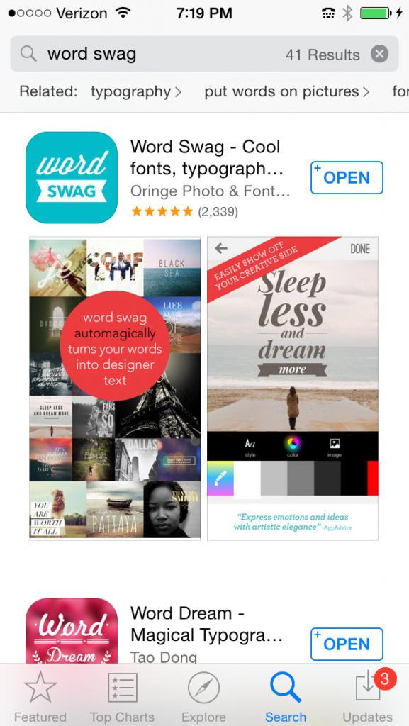 You'll need to download Word Swag from the App Store. Here's what it'll look like