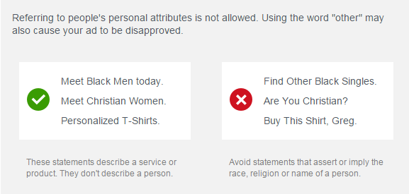 Some additional examples, also taken directly from Facebook's advertising policies
