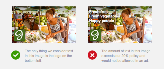From Facebook's advertising policies, this illustrates the 20% text rule.