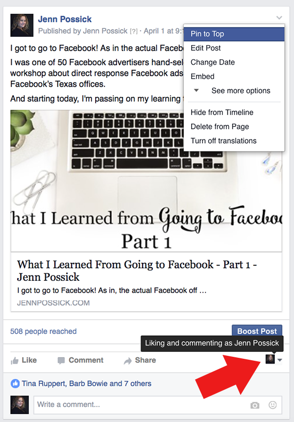 How To Share From Your Facebook Business Page to Your